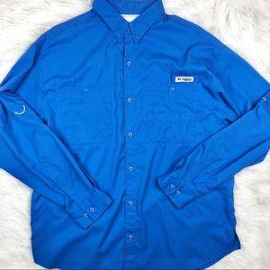 Men's Columbia Blue PFG Fishing Shirt XL